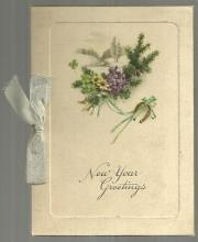Victorian New Year Greeting Card With Flowers A Wish for Your New Year