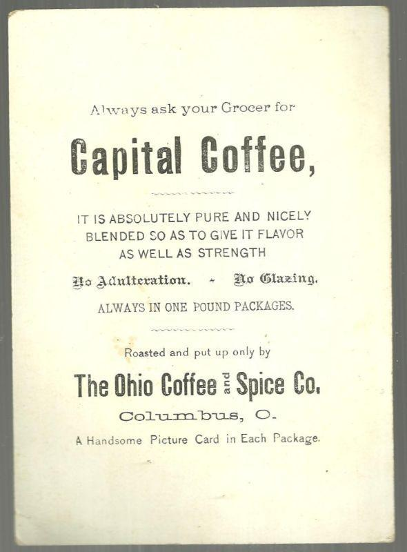 Victorian Trade Card for Capitol Coffee Columbus, Ohio with Winter Landscape