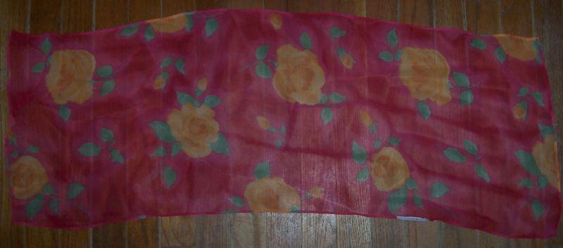 Vintage Pink Chiffon Scarf with Big Yellow Roses