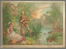 Victorian Trade Card for J. & P. Coats' Best Six Fishing and 1880 Calendar
