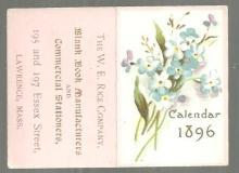 Victorian Trade Card for The W. E. Rice Company with Flowers and 1896 Calendar