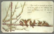 Victorian Prayer Card with Birds on a Snowy Branch Psalm 124: 7