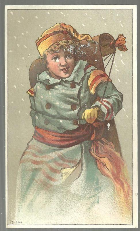 Victorian Card With Boy With Sled on His Back Outside in the Snow