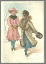 Victorian Trade Card Vienna Roller Mills Flour With Girls Ice Skating