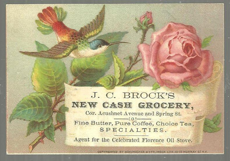 Victorian Trade Card for J. C. Brock's New Cash Grocery New Bedford with Rose