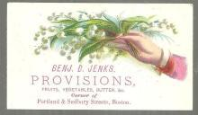 Victorian Trade Card for Benj. B. Jenks Provisions, Boston Lily of Valley