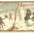 Victorian Trade Card for Liebig Company's Fleisch-Extract with Children in Snow