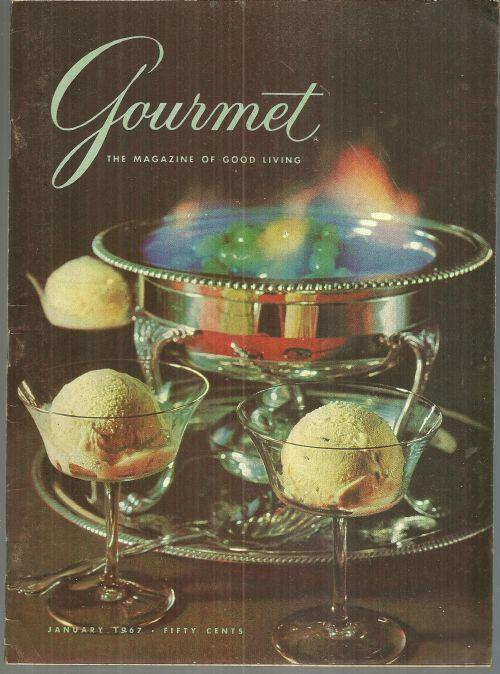 Gourmet Magazine January 1967 Flaming Finales, Winning Chicken, Festive Buffets