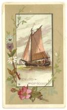 Victorian Reward of Merit with Sailboat Surrounded with Flowers