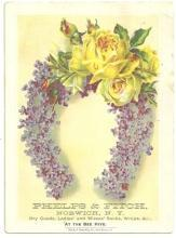 Victorian Trade Card for Phelps and Fitch Dry Goods with Floral Horseshoe