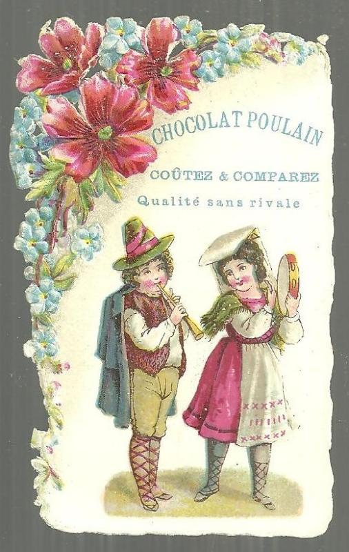Victorian Trade Card For Chocolat Poulain with Boy and Girl Playing Instruments