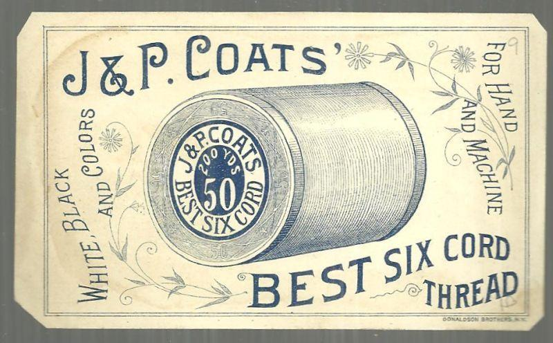 Victorian Trade Card for J. & P. Coats' Best Six Cord Thread Pish-Tush