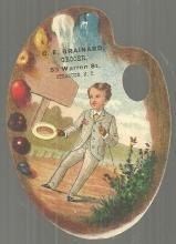 Victorian Trade Card Artist Palette Die Cut for C. E. Brainard Grocer Syracuse