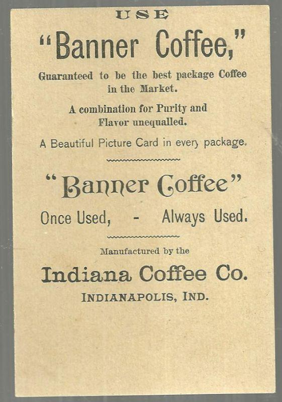 Victorian Trade Card for Banner Coffee With Lovely Girl at Garden Gate