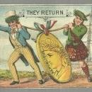 Victorian Trade Card Uncle Sam and Scotsman Returning with Medals