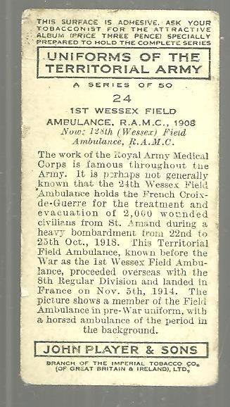 Vintage Player's Cigarette Card with The 1st Wessex Field Ambulance #24