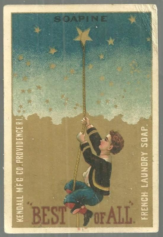 Victorian Trade Card for Soapine Little Boy Hanging by a Rope Around a Star