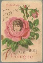 Victorian Trade Card Perfumed with Hoyt's German Cologne With Rose Lady