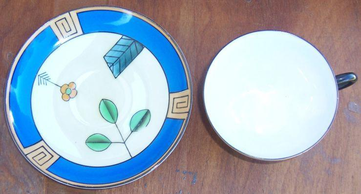 Vintage Meito China Cup and Saucer With Handpainted Art Deco Design