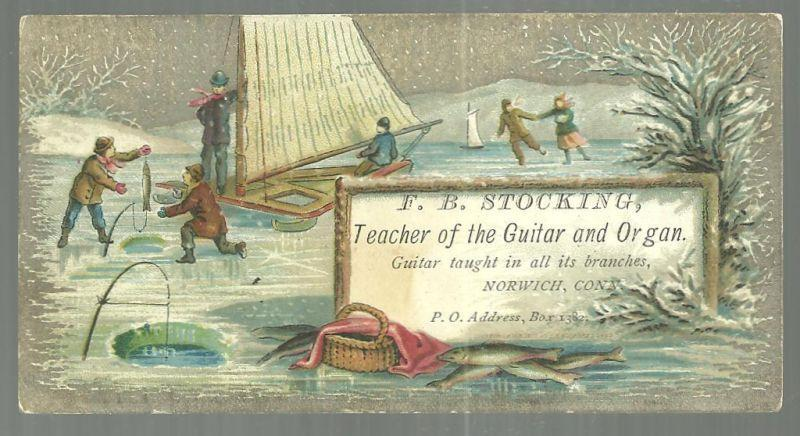 Victorian Trade Card For F. B. Stocking Teacher Ice Boating, Fishing and Skating