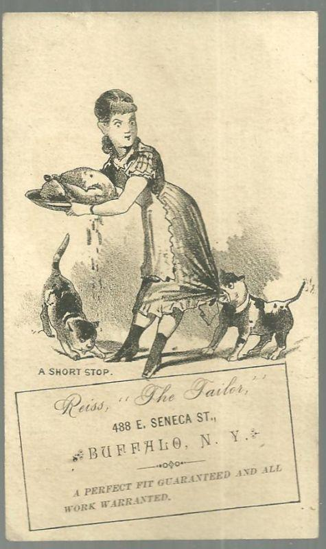 Victorian Trade Card For Reiss The Tailor With Maid Trying to Protect Dinner