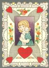 Whitney Made Vintage Valentine Card with Girl and Her Doll To My Valentine
