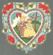 Whitney Made Vintage Valentine Card with Boy and Girl Standing Under Tree