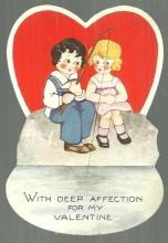 Vintage Valentine with Boy and Girl Fishing With Deep Affection for My Valentine