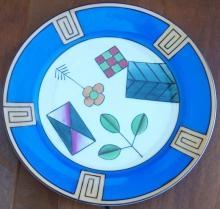 Vintage Meito China Plate With Handpainted Art Deco Design and Blue Background