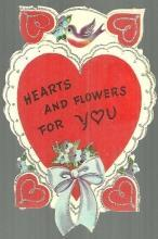 Vintage Valentine with Birds and Hearts Trimmed with Silver Glitter