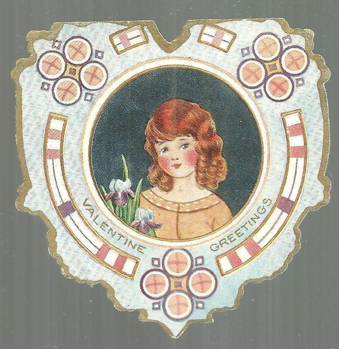 Vintage Heart Shaped Whitney Made Vintage Valentine Card with Girl and Irises