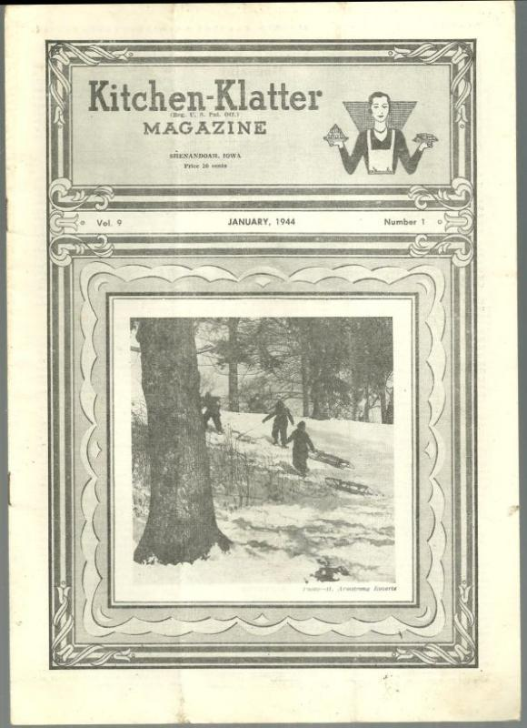 Kitchen Klatter Magazine January 1944 Winter Beauty, Old Fashioned Window Garden