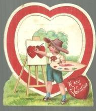 Made in Germany Vintage Valentine With Boy Artist and Pop-Up Heart
