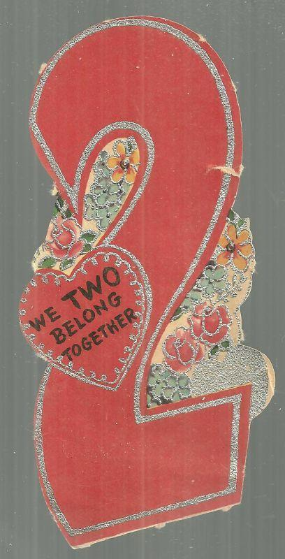 Vintage Number Two Valentine Card with Silver Glitter