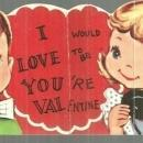 Vintage Valentine Card with Boy and Girl Talking on Telephone