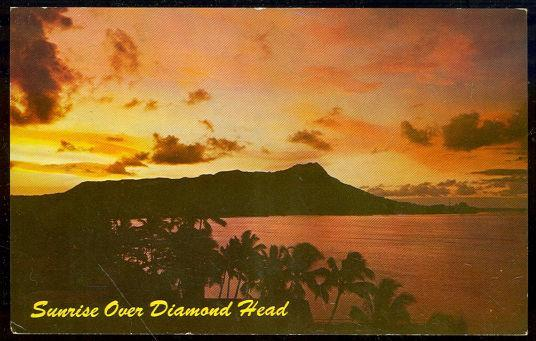 Postcard of Sunrise Over Diamond Head, Waikiki Beach, Hawaii.