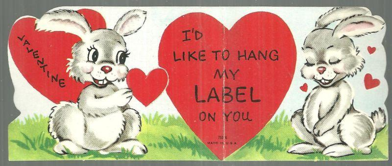 Vintage Valentine Card with Two Bunny Rabbits I'd Like to Hang my Label on You