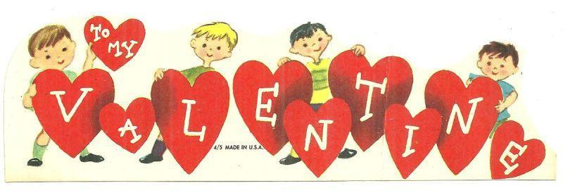 Vintage Valentine Card with Boys Holding Hearts To My Valentine