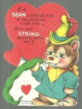 Vintage Valentine Card with Bear with a Green Bean I've Bean Looking