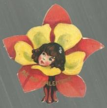 Vintage Flower Shaped Valentine Card with Flower Lady Be My Valentine