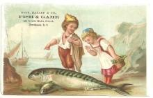 Victorian Trade Card for Goff Hazard Fish and Game Providence, RI with Girl and Boy