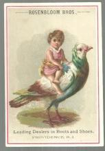Victorian Trade Card for Rosenbloom Bros Boots with Girl on Pigeon