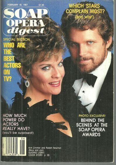 Soap Opera Digest Magazine February 10, 1987 Kim Zimmer and Robert Newman GL