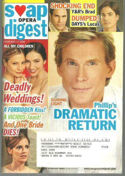 Soap Opera Digest Magazine February 17, 2009 Phillip's Dramatic Return to GL