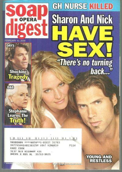 Soap Opera Digest Magazine February 10, 2009 Sharon and Nick Young and Restless
