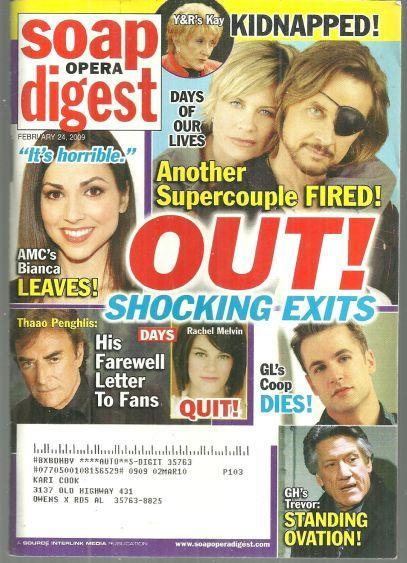 Soap Opera Digest Magazine February 24, 2009 Shocking Exits on the Cover