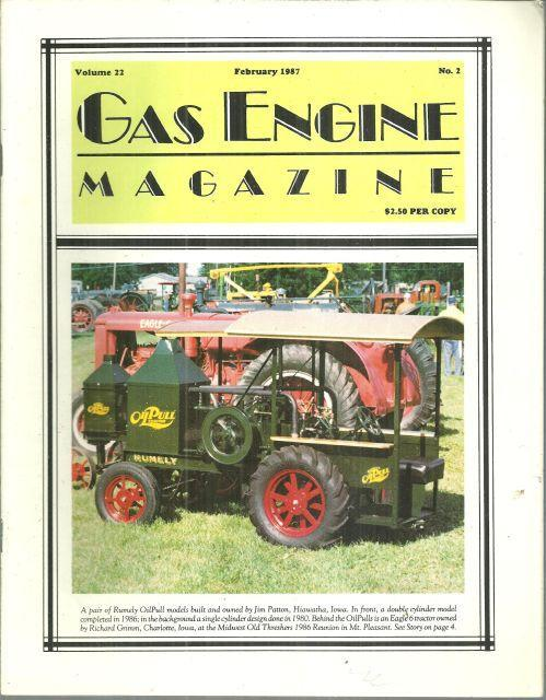 Gas Engine Magazine February 1987 Rumley OilPull Models on Cover