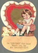 Vintage Valentine Card with Girl Peeling Onions I'm Crying Out Loud