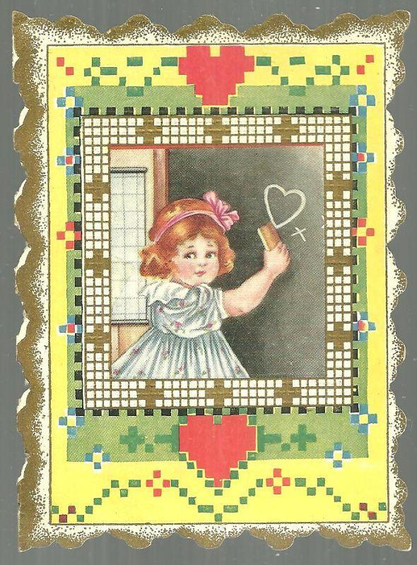 Pretty Little Maiden Victorian Valentine Greetings Card with School Girl