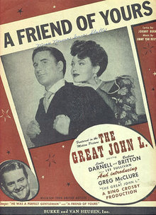 Friend of Yours from Great John L 1944 Sheet Music